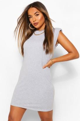 boohoo Petite Shoulder Pad T-Shirt Dress