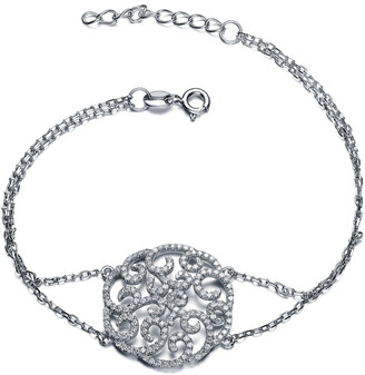 Genevive Silver Cz Filigree Bracelet