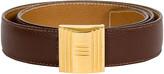 One Kings Lane Vintage Hermes Brown & Gold Lock Reversible Belt - Vintage Lux
