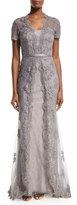 La Femme Short-Sleeve Embellished Tulle Overlay Gown, Silver