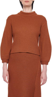 Tibi Ribbed Merino Sweater with Slit Neckline