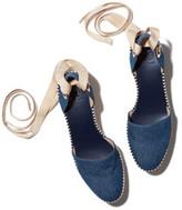 Tory Burch Dandy Espadrille Wedge Sandal in Blue Denim/Natural, Size 37