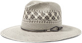 Rag & Bone Leather-trimmed woven paper straw fedora