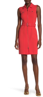 Tommy Hilfiger Front Zip Waist Belt Sheath Dress