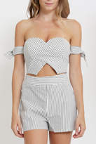 privy Stripe Off Shoulder Romper