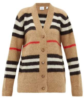 Burberry Gamtoos Icon Stripe-intarsia Mohair-blend Cardigan - Womens - Beige Multi
