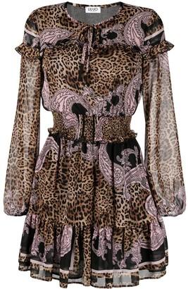 Liu Jo Animal-Print Ruffle-Trim Dress
