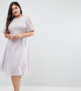 Asos DESIGN Curve delicate lace applique midi dress