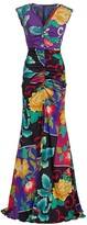Etro Japanese Floral Ruched Stretch-Silk Gown