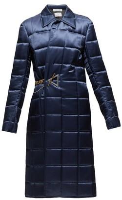 Bottega Veneta Chain-embellished Quilted-satin Coat - Womens - Navy