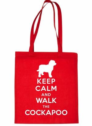 Print4u Shopping Tote Bag Keep Calm & Walk Cockapoo Dog Black