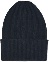The Elder Statesman Short Bunny Echo Ribbed Cashmere Beanie - Midnight blue
