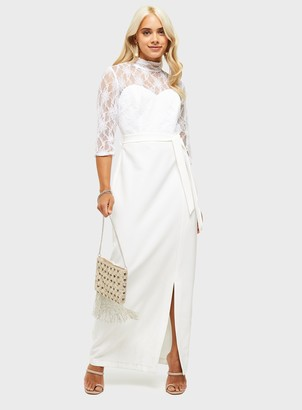 Miss Selfridge PETITE White Lace Body Maxi Dress