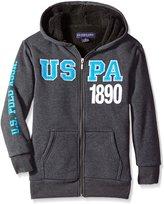 U.S. Polo Assn. Big Boys' Fleece Sherpa Lined Hoodie, Dark Heather Gray