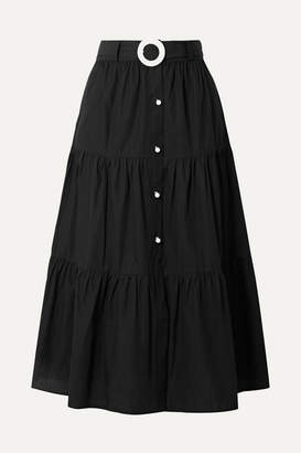 Solid & Striped Belted Tiered Cotton-poplin Midi Skirt - Black