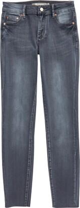 Tractr Diane Mid Rise Raw Hem Skinny Jeans