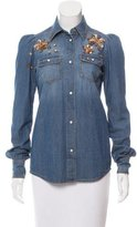 Roberto Cavalli Embellished Denim Top w/ Tags