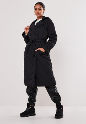 Missguided Black Padded Trench Coat