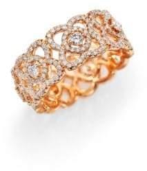 De Beers Enchanted Lotus Diamond& 18K Rose Gold Band Ring