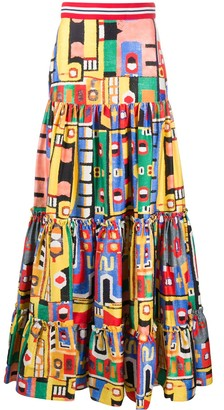 Stella Jean Colour-Block Maxi Skirt