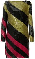 Sonia Rykiel Sequined Striped Knitted Mini Dress