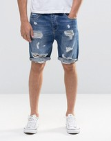 Asos Denim Shorts In Slim Fit Mid Wash With Rips