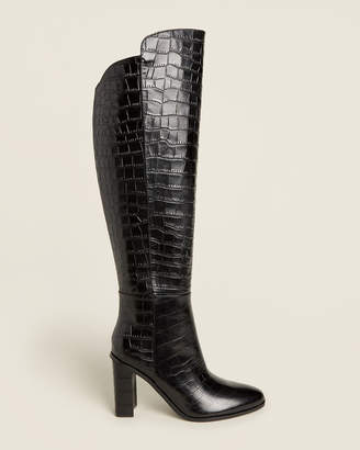 Marc Fisher Black Unella Croc Knee-High Leather Boots