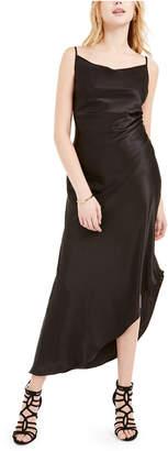Bebe Asymmetrical Satin Maxi Dress