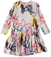 Molo Candis Long-Sleeve Jersey Graffiti Dress, Gray/Multicolor, Size 3T-12
