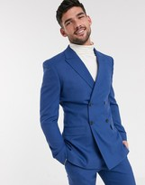 Asos DESIGN skinny double breasted suit jacket in cornflower blue