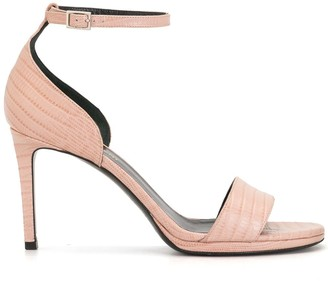 Yves Saint Laurent Pre-Owned Crocodile Effect Ankle Strap Sandals