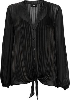 Wallis Black Satin Stripe Tie Front Top