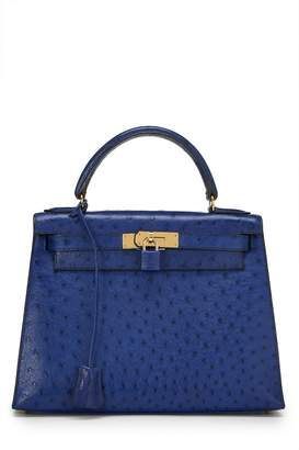 Hermes Blue Roy Ostrich Kelly Sellier 28