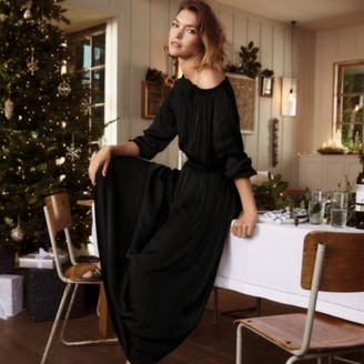 The White Company Boat-Neck Fit & Flare Midi Dress, Black, 10