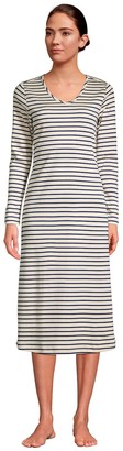 Lands' End Women's Supima Cotton V-Neck Long Sleeve Nightgown