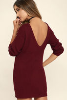 LuLu*s Bringing Sexy Back Wine Red Backless Sweater Dress