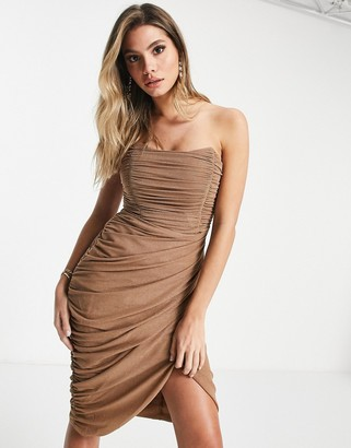 Rare London mesh drape wrap midi pencil dress in camel glitter