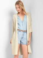 Linen-cotton open-front cardigan