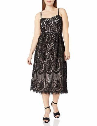 City Chic Women's Apparel Women's Plus Size Midi Dress with Fitted Waistline and lace Overlay