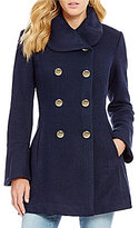 Jessica Simpson Wool Tweed Fit-And-Flare Bell Sleeve Coat