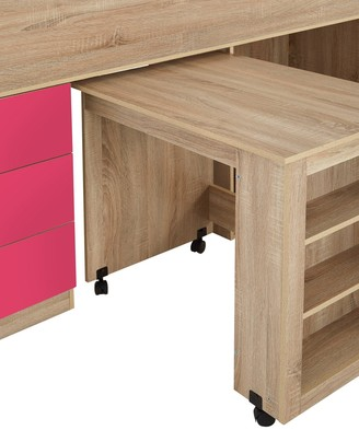 Mico Mid Sleeper Bed with Pull-Out Desk andStorage - Oak Effect/Pink