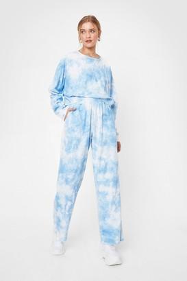 Nasty Gal Womens Tie Dye Wide Leg Loungewear Set - Blue - 6