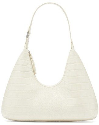 BY FAR Amber Crocodile-effect Leather Shoulder Bag - Beige
