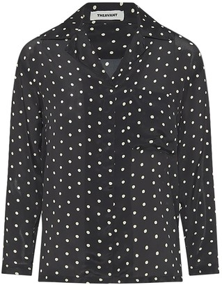 Theavant Polka-Dot Silk Blouse In Black