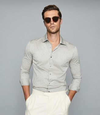 Reiss Hendon - Mercerised Cotton Shirt in Grey Melange