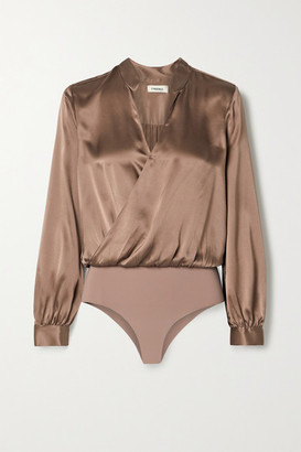 L'Agence Marcella Wrap-effect Silk-satin And Stretch-jersey Bodysuit - Brown
