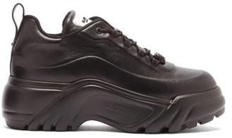 Valentino Flyover Tread-sole Leather Trainers - Black