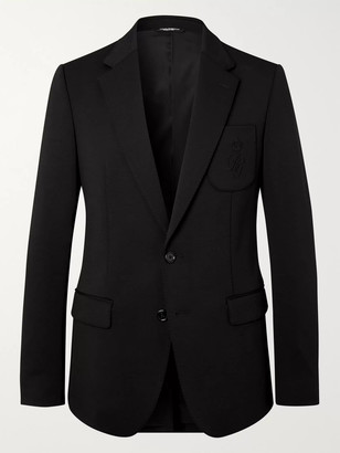 Dolce & Gabbana Slim-Fit Unstructured Logo-Embroidered Wool-Blend Jersey Blazer