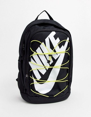 Nike Hayward backpack with yellow lacing in black