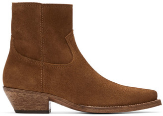 Saint Laurent Brown Suede Lukas Boots